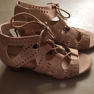 Soft leather lace up heel